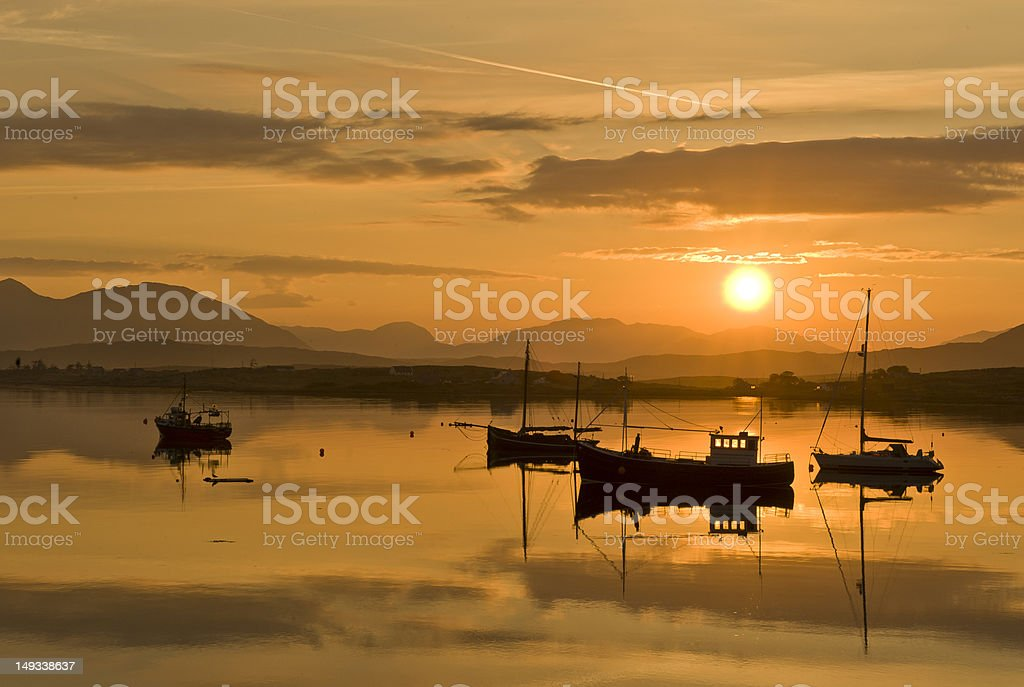 Roundstone Harbour at sunset stock photo
