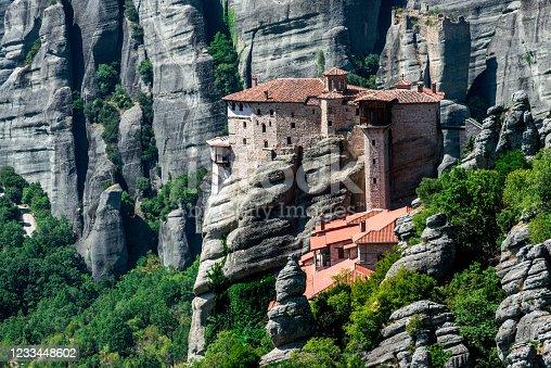 View of the Meteora with Monastery of Roussanou (Agias Varvaras). Meteora, Thessaly, Greece, Europe.