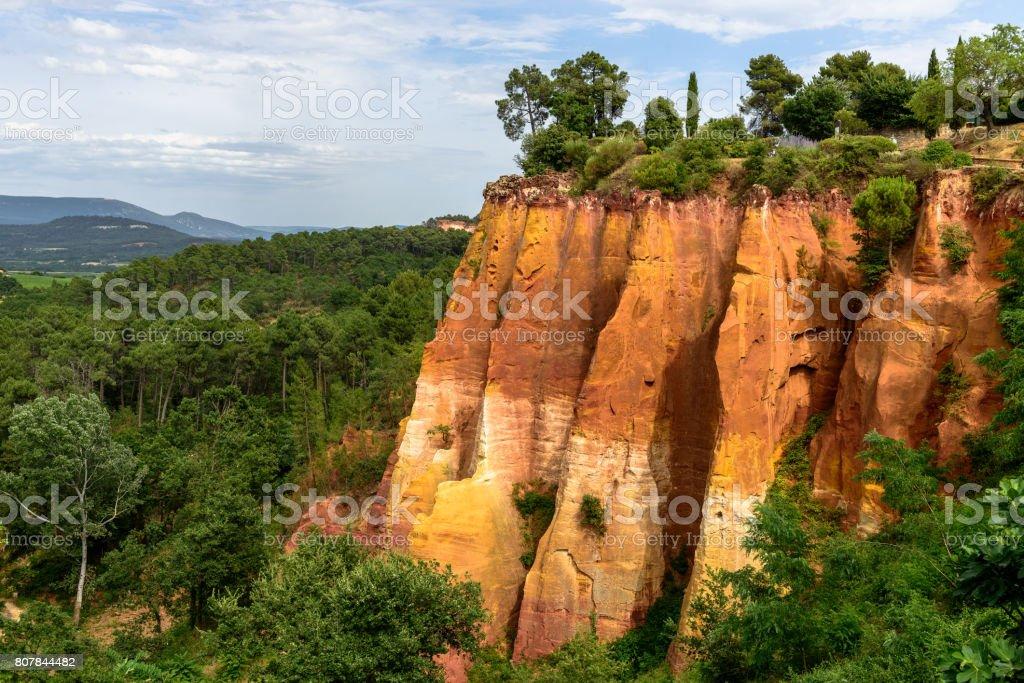 Roussillon - France - The ocher cyan canyon stock photo