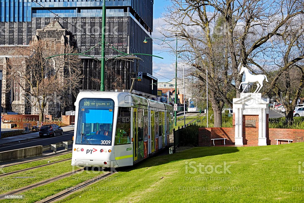 Route 109 tram departing Box Hill with iconic White Horse stock photo