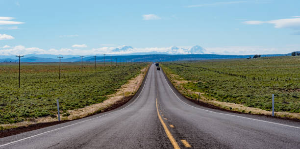 US Route 20 east of Bend, Oregon stock photo
