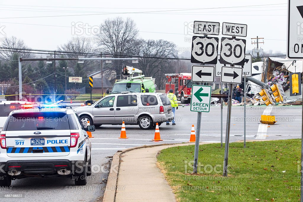 Route 30 Truck Accident stock photo