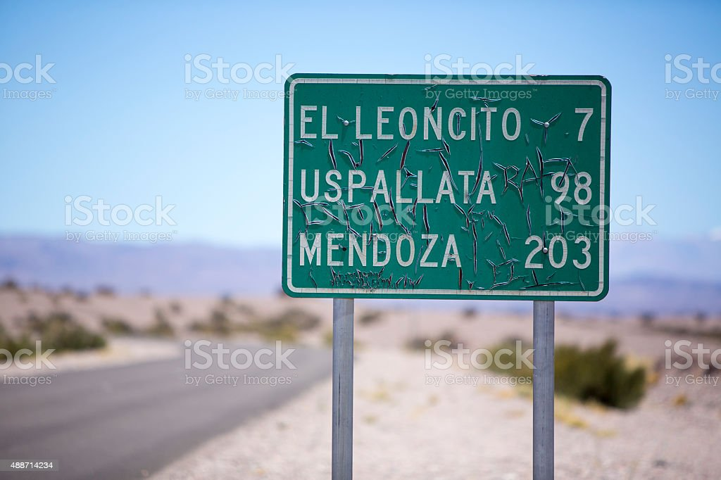 Route 40 old sign road to Mendoza in Argentina stock photo
