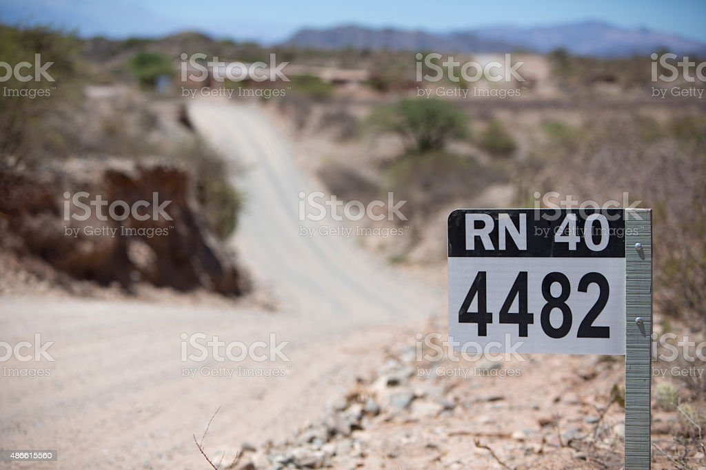 Route 40 sign road in north of Argentina stock photo