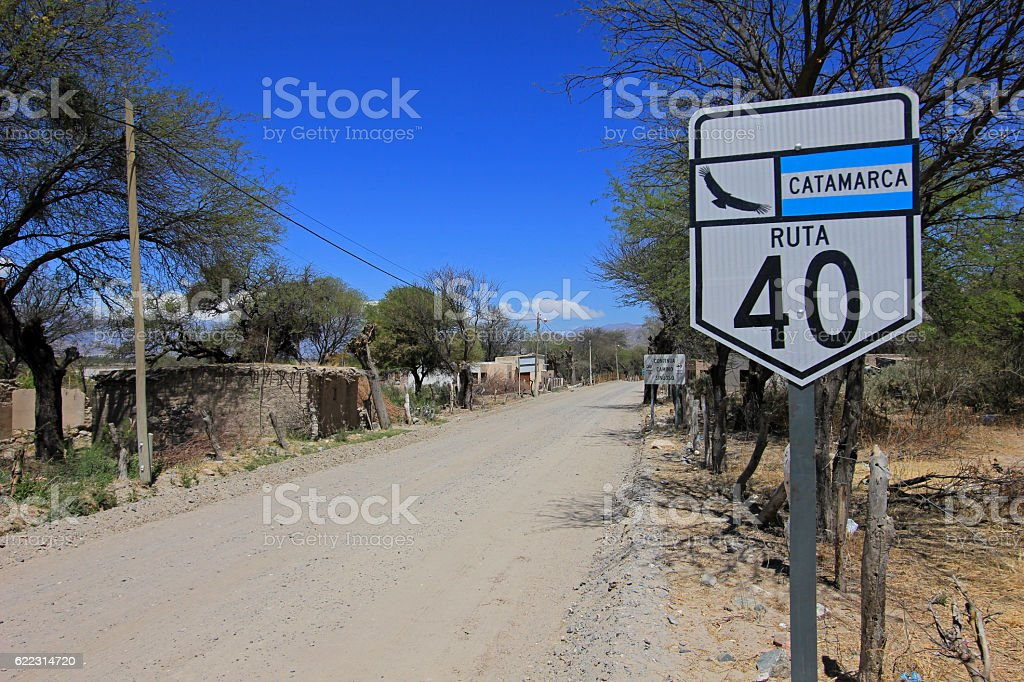 Route 40 with sign, Cafayate, Argentina stock photo