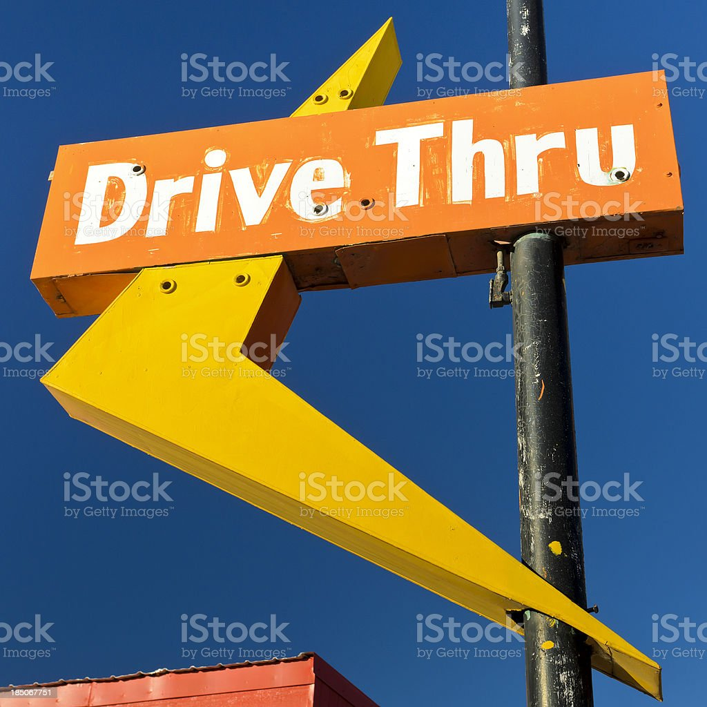Route 66 Americana Abandonded Drive Thru Neon Arrow Sign stock photo