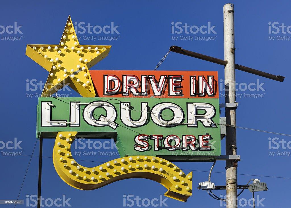 Route 66 Americana Drive in Liquor Store Neon Sign stock photo