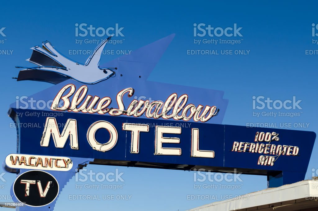 route 66 americana historic blue swallow motel neon sign stock photo download image now istock 2