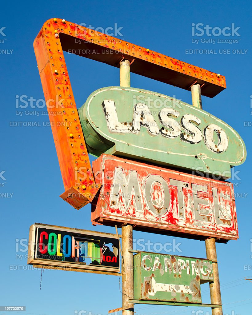 Route 66 Americana Historic Neon Sign from Demolished Lasso Motel stock photo