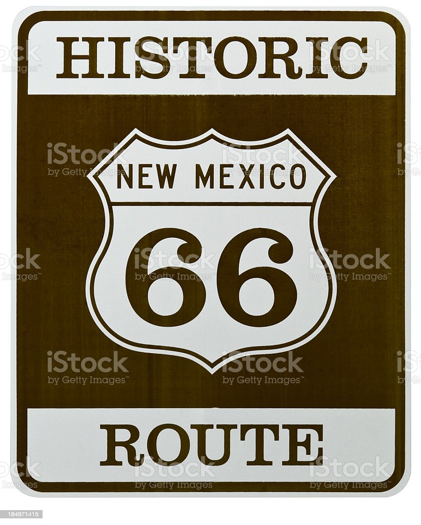 Route 66 Americana New Mexico Historic Shield Shaped Highway Sign royalty-free stock photo