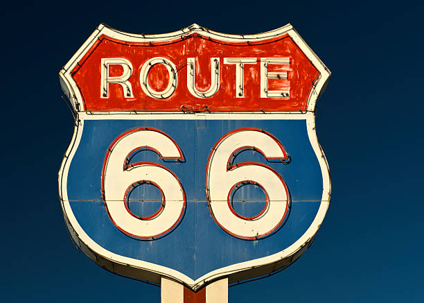 Route 66 Americana Red and Blue Neon Highway Sign stock photo