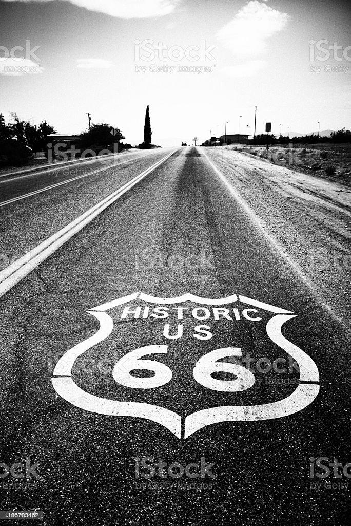 Route 66, Arizona. Black And White stock photo