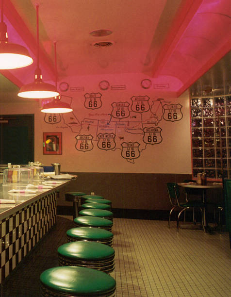 Route 66 Diner Interior stock photo