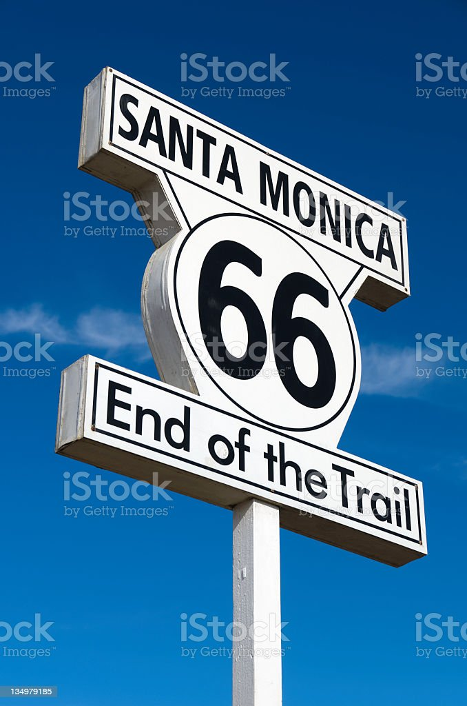 Route 66: End of the Trail Sign royalty-free stock photo