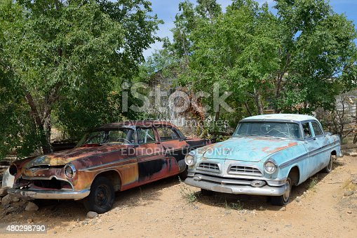 Hackberry, AZ, USA - May 27, 2015: Old-timer cars at the general store at Hackberry, Route 66.