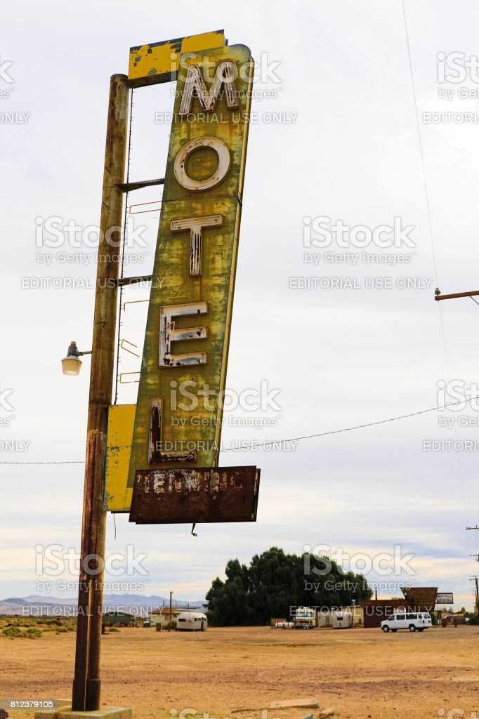 Route 66 in the Mojave Desert stock photo