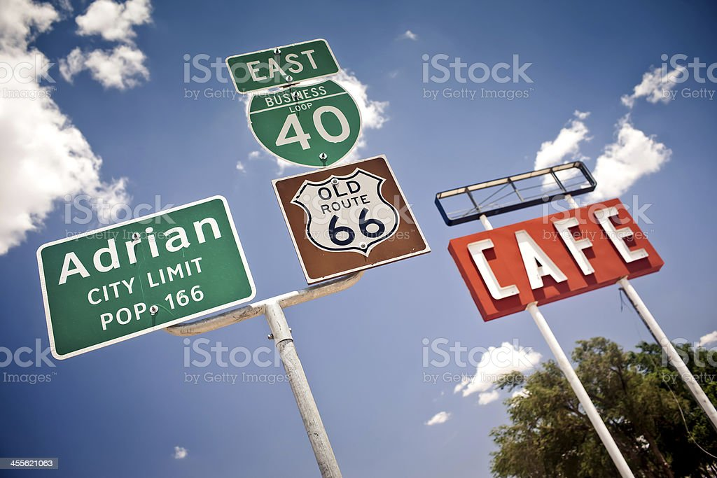 Route 66 intersection signs stock photo