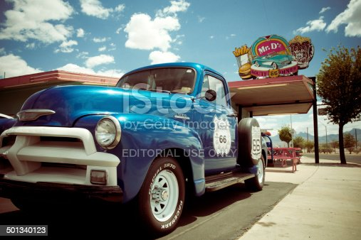 Kingman, Arizona, USA - May 8, 2014: Roadside classic pickup truck and burger joint attraction along historic Route 66 in Kingman Arizona.  Route 66, known as the Mother Road, is an American icon with many roadside attractions.