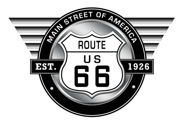 route 66 - main street of america - logo with retro style wings - badge logo stock pictures, royalty-free photos & images