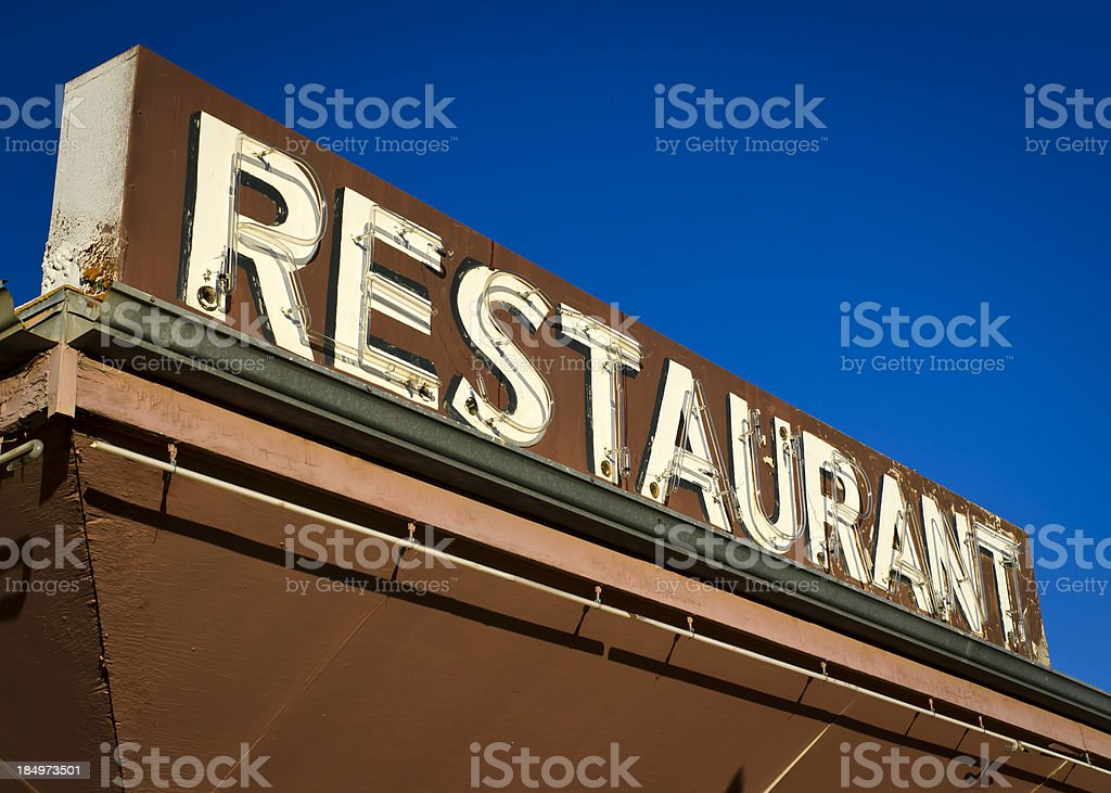 Route 66 Neon Americana Brown Restaurant Sign royalty-free stock photo