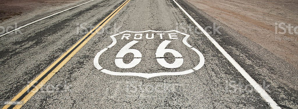 Route 66 Painted on Road in Desert royalty-free stock photo
