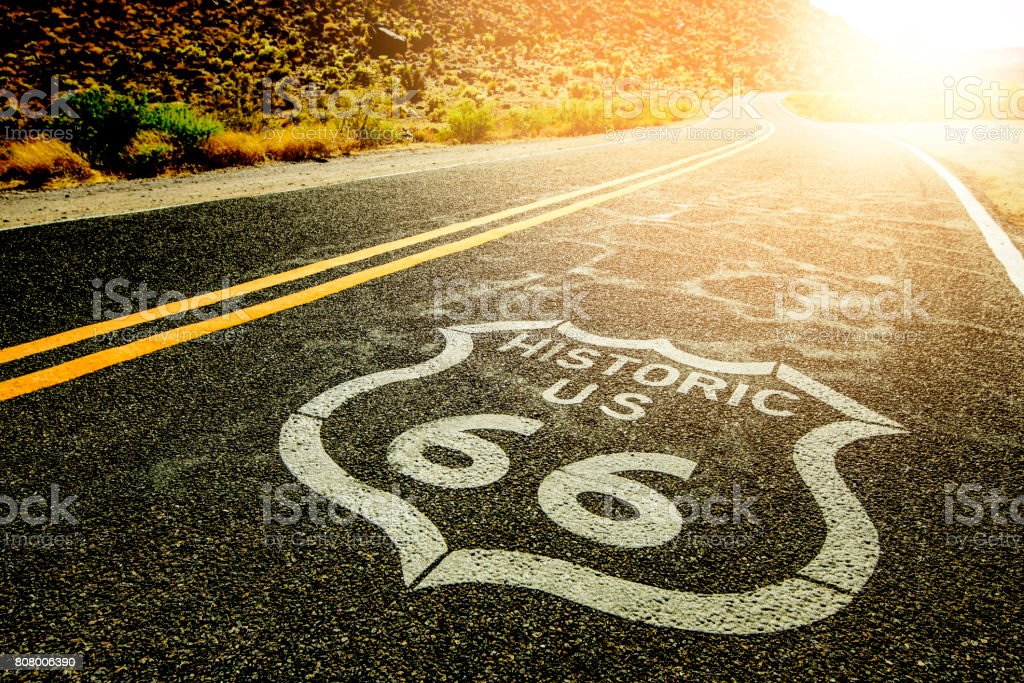 Route 66 Pavement Sign  Mojave Desert stock photo