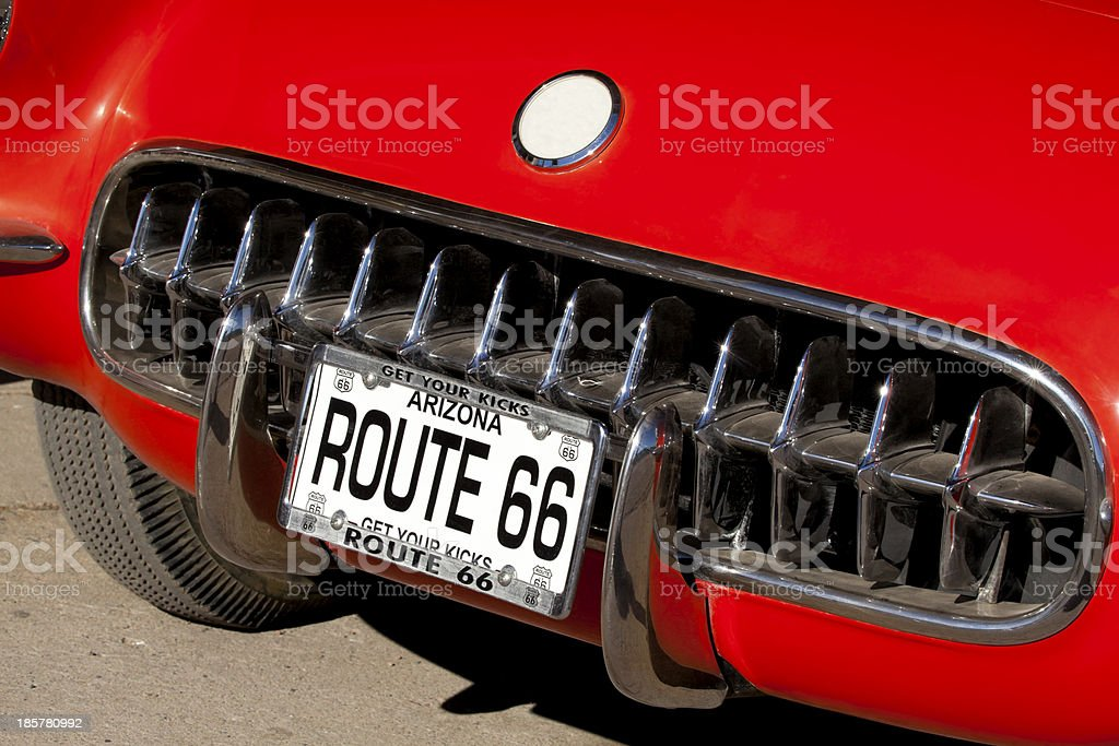 Route 66 (fake license plate ) stock photo
