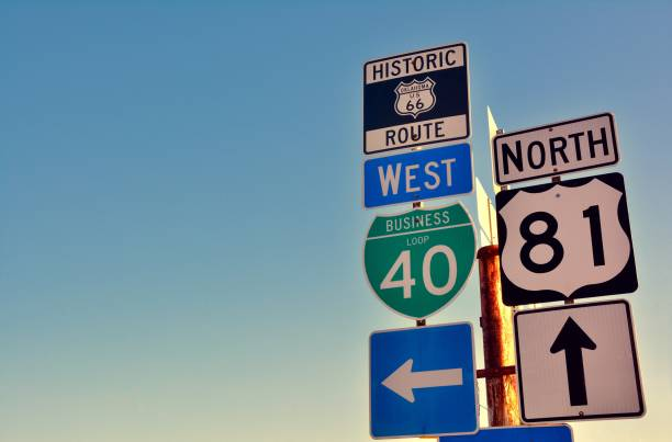 route 66. - road signs stock photos and pictures