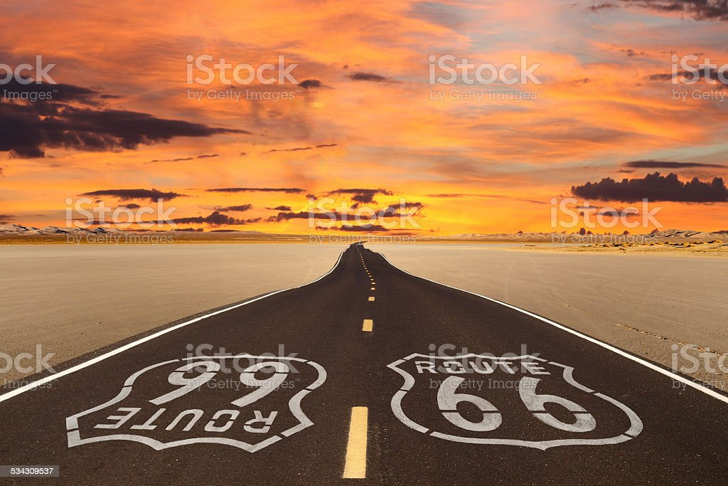 Route 66 Romanticized stock photo