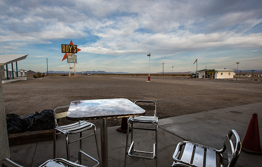 Amboy, California, USA - May 04, 2014:  Roy's Motel and Café is a motel, café, gas station and auto repair shop, defunct for many years but now being largely restored, on the National Trails Highway of U.S. Route 66 in the Mojave Desert town of Amboy in San Bernardino County, California