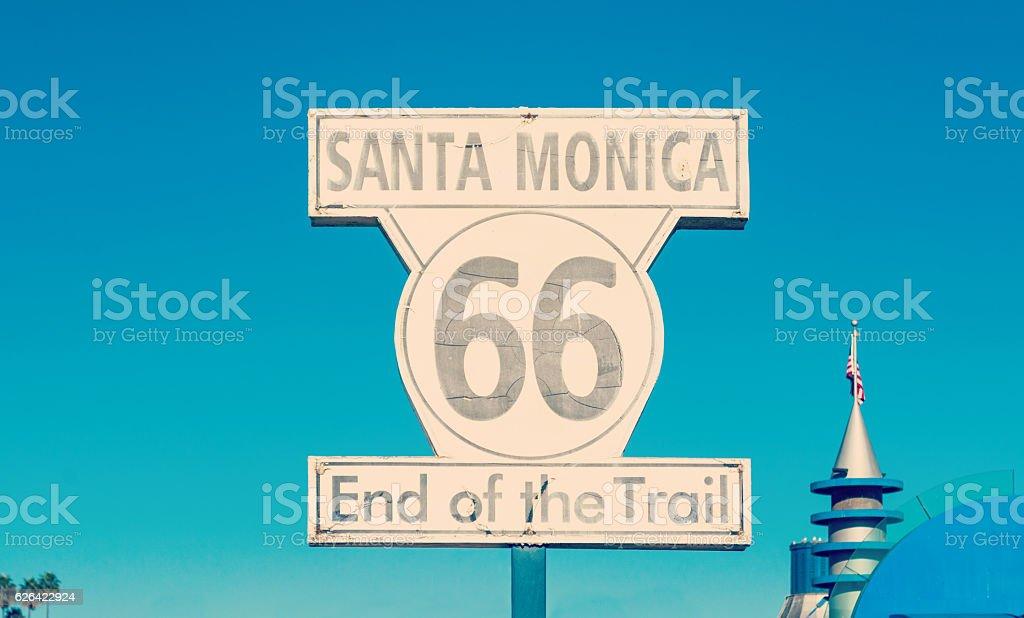 Route 66 sign in Santa Monica stock photo