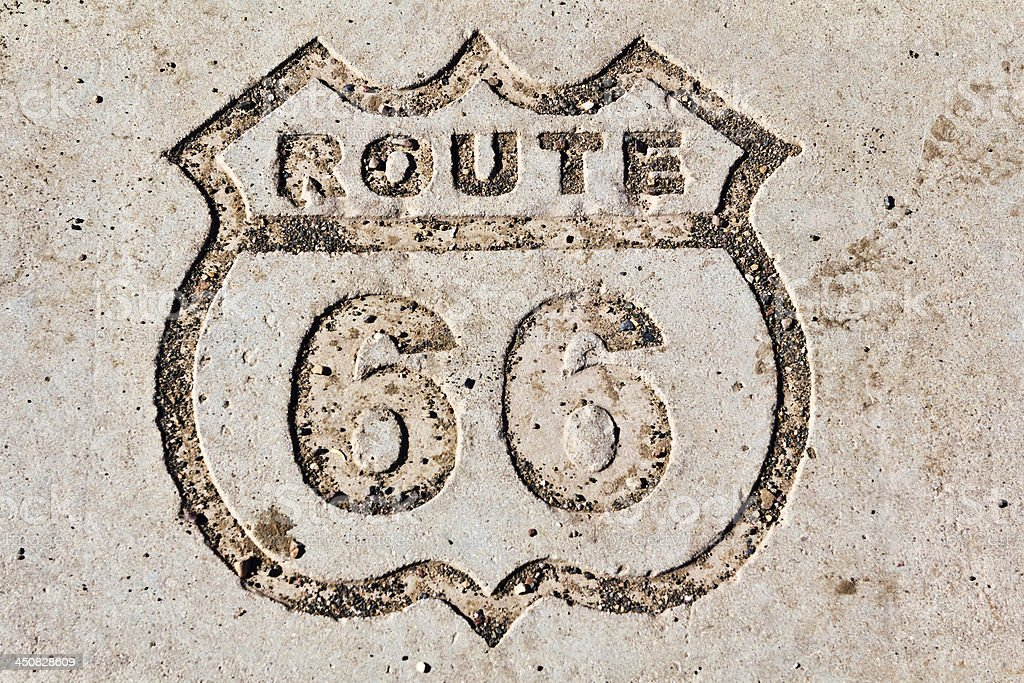 Route 66 sign in stone stock photo