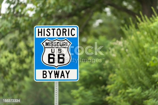 A sign marking part of the original roadbed of US Route 66 in Missouri.