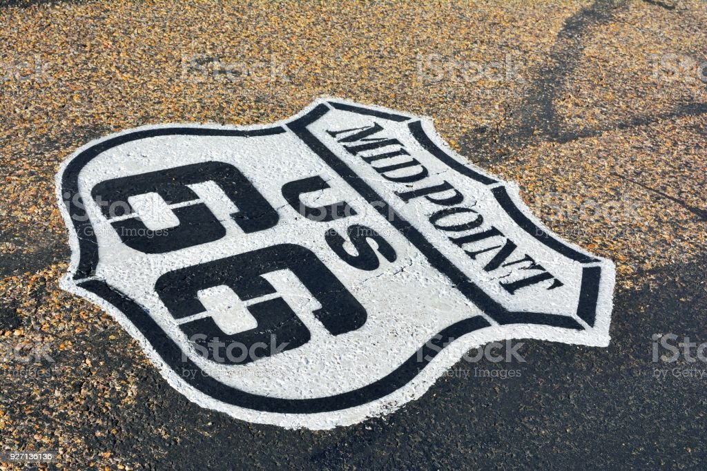 Sinal da rota 66. - foto de acervo