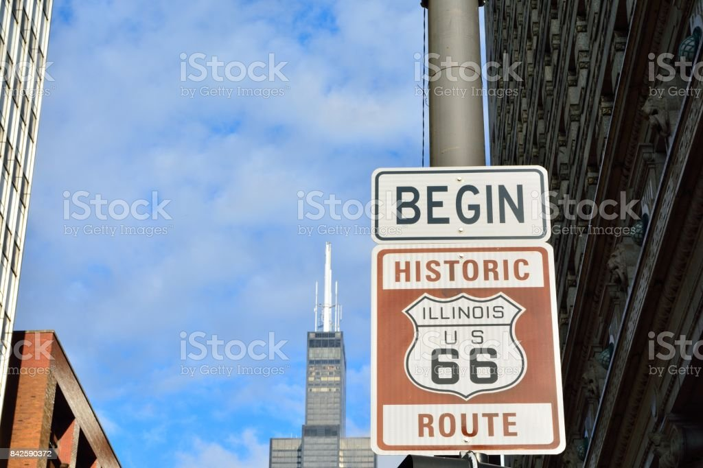 Route 66 sign, the beginning of historic Route 66 stock photo
