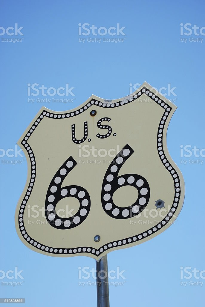 Route 66 street sign stock photo