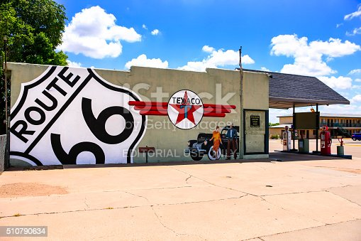 Tucumcari, NM, USA - June 16, 2015: Route 66 Texaco vintage 50s/60s gas filling station in Tucumcari, New Mexico