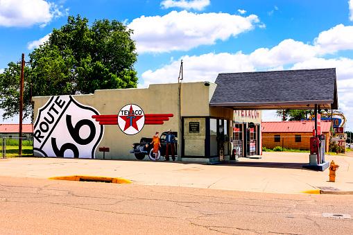 Tucumcari, NM, USA - June 16, 2015: Route 66 Texaco vintage 50s/60s gas filling station in Tucumcari, New Mexico
