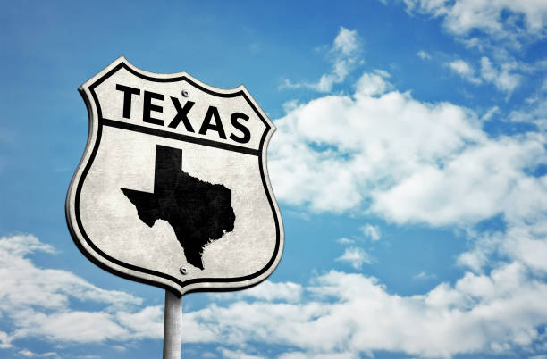 Route 66 Texas map roadsign stock photo