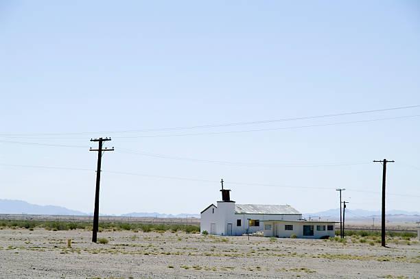 Route 66: White Church in deserted Landscape foto