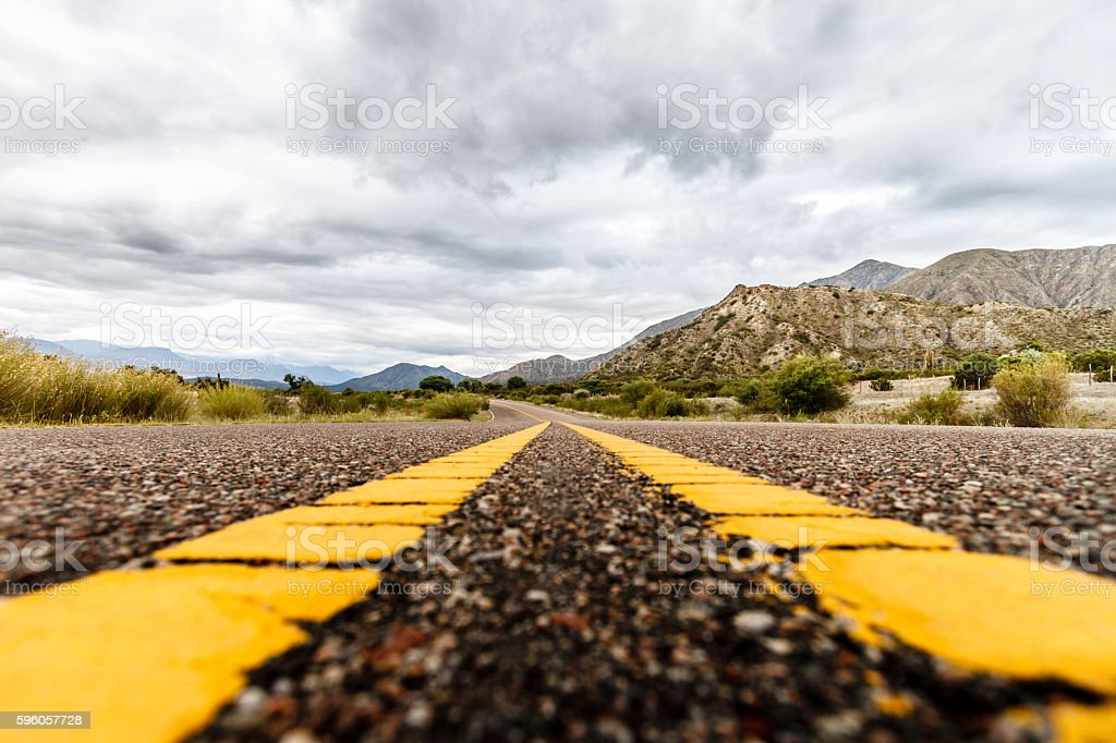 Route between mountains viewed at ground level in Argentina royalty-free stock photo