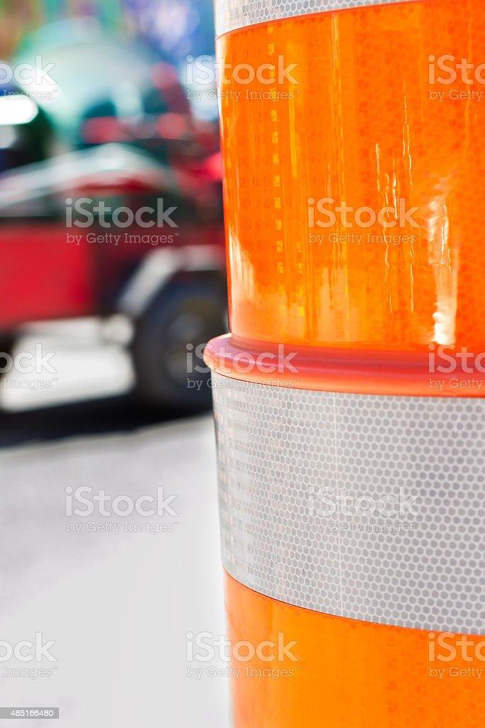 Route cone closeup stock photo