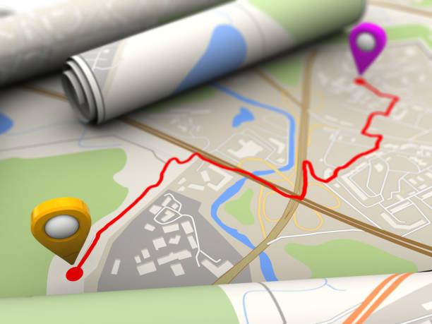 der route - kompass wanderkarte stock-fotos und bilder