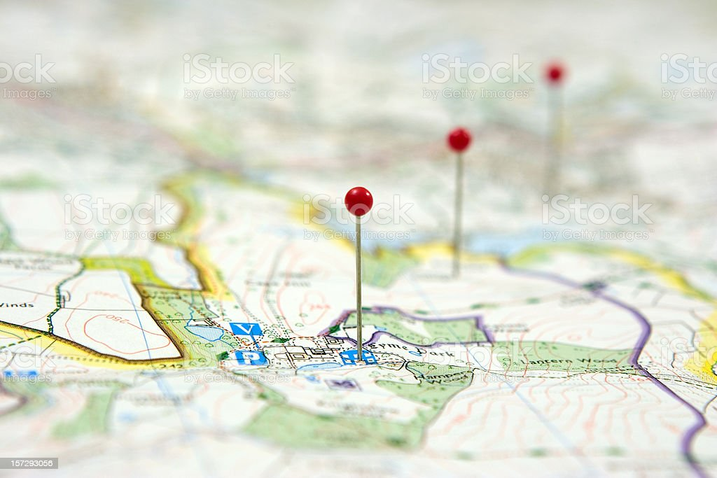 Route Planning using pins on a map to show route stock photo