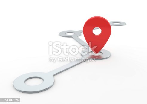 Route with Pin Pointer.More 3D concept