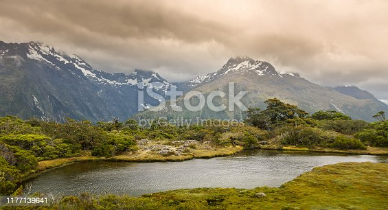 View along the great walk Routeburn track, in New Zealand, south island. Majestic mountain views.