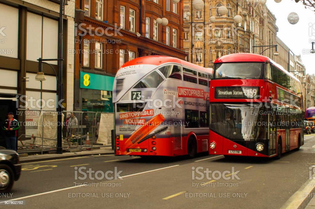 Routemaster double deckers stock photo