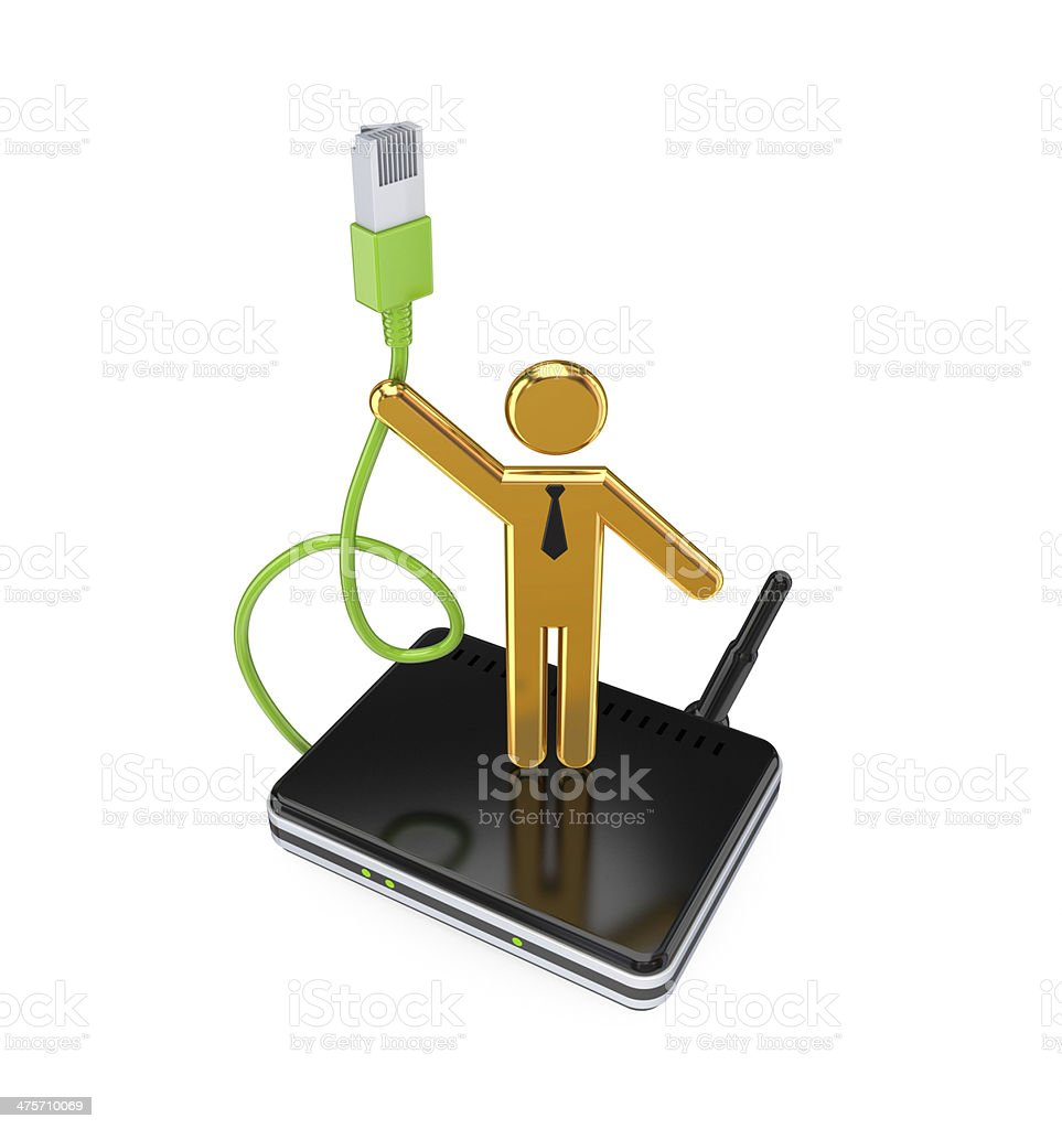 Router, patchcord and 3d small person. royalty-free stock photo