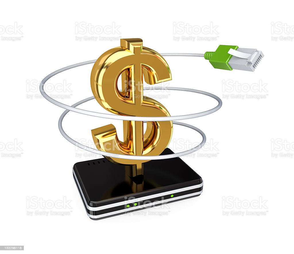 Router, patchcord and golden dollar sign. royalty-free stock photo