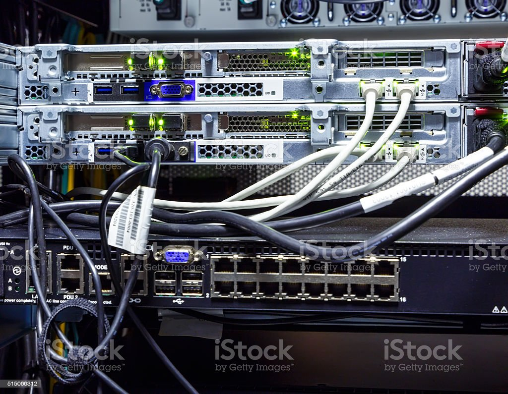 Router Supercomputer Rack Closeup Wires And Connectors Stock Photo ...